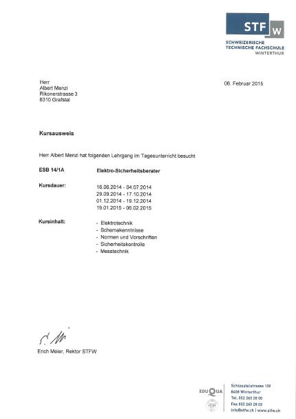 Elektrosicherheitsberater Zertifikat – Menzi Facility Services ...