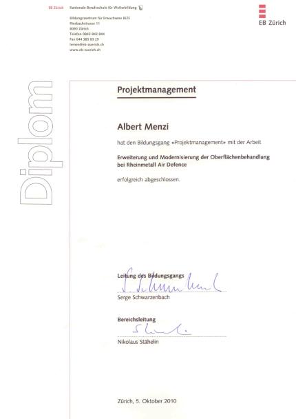 Projektmanagement Zertifikat – Menzi Facility Services & Consulting