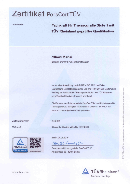 Thermografie Zertifikat TÜV – Menzi Facility Services & Consulting